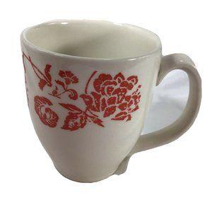 Batik Red Floral PIER 1 Earthenware 12 oz Mug